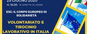 Il corpo europeo di solidarietà: incontro gratuito in diretta Zoom